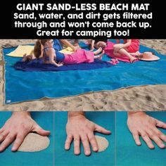 A beach mat that filters though sand, dirt, and water. I need this! It would be great for going to the beach, park, and even camping.