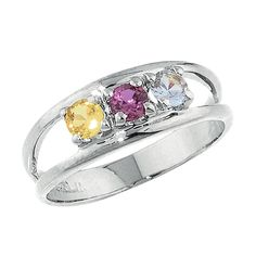 Mother's Family Jewelry Birthstone Ring. Choice of 2 to 7 stones. Available in sterling silver, 10kt yellow or white gold, and 14kt yellow or white gold.