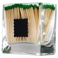 Glass Rectangle Match Holder with Square Striker by Strike a Match, a line of modern match holders and match strikers designed for people who enjoy using MATCHES to light their candles, incense, cigars, and other favorite things to relax and enjoy life. Think ahead. This is the ULTIMATE stocking stuffer!   $14 {glass matchstick holder, glass match holder, glass match striker, matchsticks, green matches}