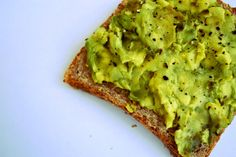 A perfect breakfast: Avocado on Food For Life Ezekiel 4:9 Whole Sprouted Live Grain Toast with cracked black pepper. Calories: 205 Fat (the good kind!) : 12g Protein: 5g Photo: My own