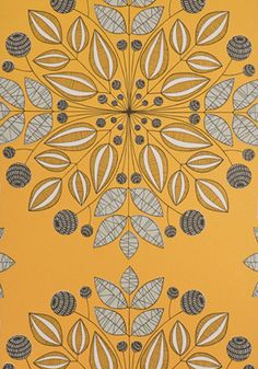 Kaleidoscope Pumpkin Orange Flower wallpaper at best price. A stunning modern damask wallpaper available online to order and buy today with quick delivery.