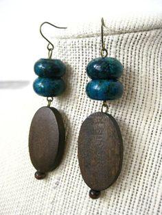 blue and wood earrings