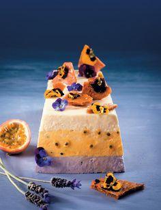 Lavender, granadilla & white-chocolate mousse cake with flower-studded honeycomb