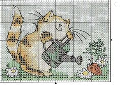 Cross-stitch Kitty with Ladybug & Flowers. no color chart available, just use the pattern chart as your color guide. Cross Stitch Cards, Cross Stitch Baby, Cross Stitch Animals, Cross Stitch Kits, Counted Cross Stitch Patterns, Cross Stitch Designs, Cross Stitch Embroidery, Embroidery Patterns, Cat Cross Stitches