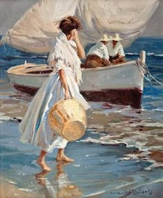 Juan González Alacreu Tis beautifully crafted painting i was sure must be a Sorolla, but no. Paintings I Love, Beautiful Paintings, Art And Illustration, Figure Painting, Painting & Drawing, Victorian Art, Art Moderne, Fine Art, Beach Art
