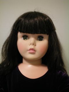 """This is a Large Vintage  35  Inch, Playpal Type Doll. She is marked, """"AE"""" on the back of her neck and is wearing a long child size 5 velvet and satin party gown, pink socks, and white child's slip-on strap shoes. $_57.JPG (1200×1600)"""