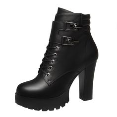 Passionow Women's Autumn Winter Faux Fur Lace-up Zipper Buckles Platform Chunky Heel Ankle Booties *** Additional details at the pin image, click it  : Desert boots