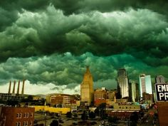 Kansas City May 2011 . . . multiple tornadoes sited, but thankfully no lives lost (not sure any touched down at all) . . . I do remember the sky being green like this.  It was amazing.