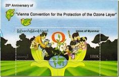 Myanmar (Burma) Stamp 2010- 25th Anniversary of Vienna Convention for the Protection of Ozone Layer