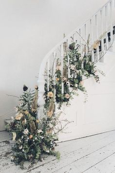 Great staircase, floral arrangement