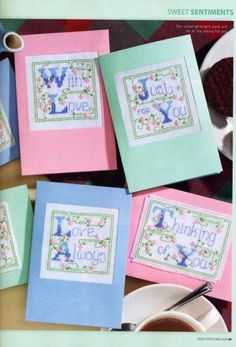 Sweet Sentiments preview - free cross stitch patterns pinned separately