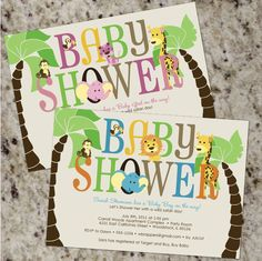 SAFARI Baby Shower Invitations  BOY or GIRL  by Whirlibird on Etsy, $12.99