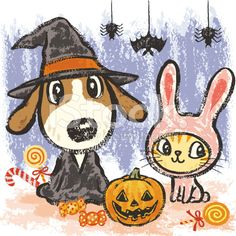Dog and cat at Halloween royalty-free stock vector art