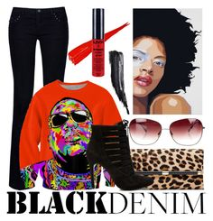 """""""Black Demim"""" by monica-khrucell ❤ liked on Polyvore featuring Armani Jeans, Diane Von Furstenberg, BCBGeneration, Oliver Peoples, NYX, Tom Ford, women's clothing, women's fashion, women and female"""