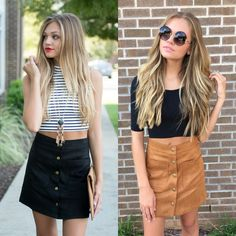 Suede button skirts #swoonboutique