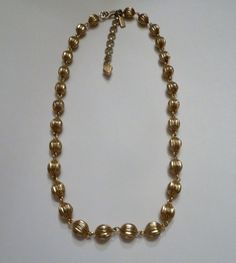 Vintage Gold Bead Monet Necklace Choker Costume Jewelry Spring Summer on Etsy, $10.20