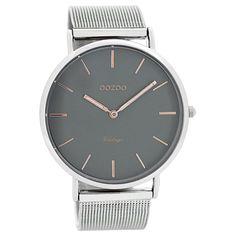 Oozoo Damen Herren-Uhr Ultra Slim Quarzuhr Metall-Armband silber UOC7721