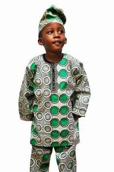 Sooo cool. Baby Boy Looking Good in Green and Black Ankara