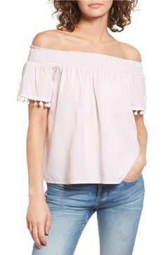 Main Image - Love, Fire Smocked Check Off the Shoulder Top