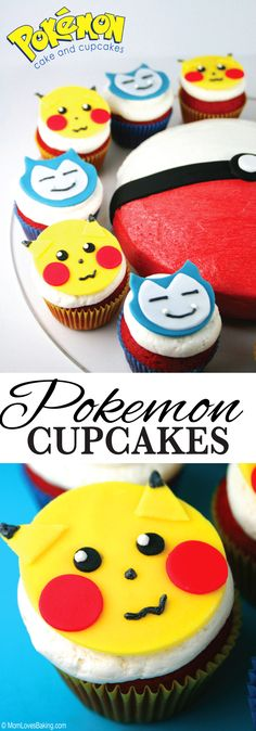 I used red velvet cake, buttercream frosting and fondant to make these adorable… Round Cake Pans, Round Cakes, Pokemon Birthday, Pokemon Party, 9th Birthday, Birthday Ideas, Birthday Cake, Pokeball Cake, Pokemon Cupcakes