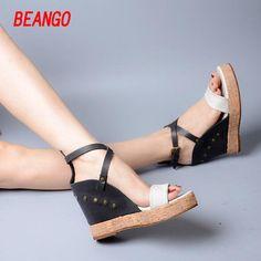 36e927c82f1b0c BEANGO Hot 2017 Women s shoes Summer style female sandals high platform  wedges peep toe Real leather