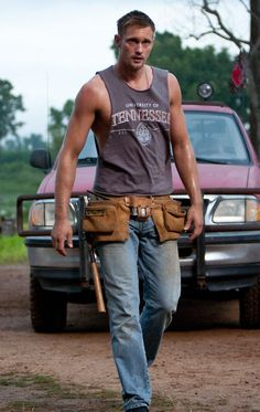 Alexander Skarsgard inStraw Dogs...There's just something about a man in a tool belt that makes we drool...
