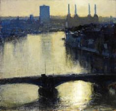 Andrew Gifford - View towards Battersea from Albert Embankment V - 2009  Oil on panel 13¾ x 14¼ ins (332 x 356 cm)
