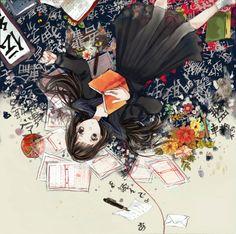anime girl with kanji