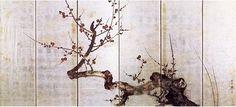紅白梅図屏風(右),酒井抱一,19th century,Japan
