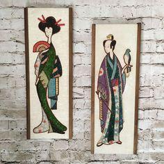 VTG Mid Century MCM Gravel Art Wall Hanging Set Geisha Girl Taikomochi Oriental - Rare to find complete set.  Low starting bid!