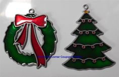 Vintage Stain Glass Christmas Ornaments Lot (2) Leaded Sun Catcher Tree Wreath