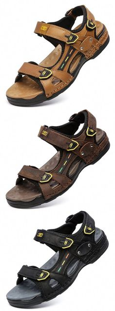 c0b967fc46ac Men Outdoor Soft Shock Absorption Hook Loop Leather Sandals is comfortable  to wear
