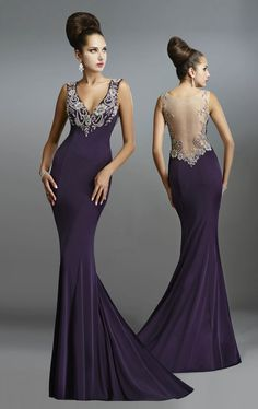 Beaded V Neck Gown by Janique 13921 by Janique
