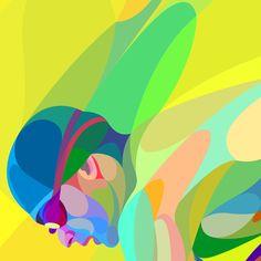 Waves of Color on Behance Brosure Design, Graphic Design, Creative Illustration, Digital Illustration, Swimming Pictures, Sports Art, Color Blending, Creative Art, Modern Art