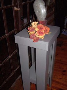 Tall Side Table, Telephone Table, Plant Stand From Recycled Lumber.