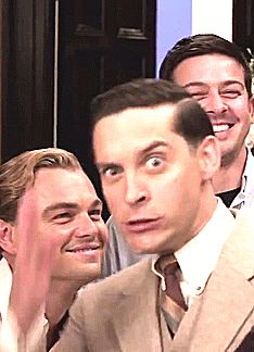 Leonardo DiCaprio with Tobey Maguire GIF lollllllllll @julialouiselamb
