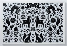 Tad Carpenter black and white woodland creatures print