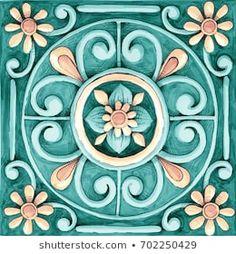 ornaments on the tiles watercolor, pain, Italy Majolica, floral ornament Mosaic Patterns, Pattern Art, Pattern Design, Mandala Drawing, Mandala Art, Italian Pattern, Patchwork Tiles, Decoupage Paper, Ceramic Design