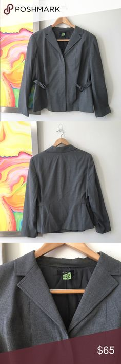 """ALFANI Grey """"Wool"""" Suit Jacket Pre-loved. Just dry cleaned. True to Size. Poly-viscose blend made to mimic wool. Fully lined. Side buckle adornments allow you to cinch to create a slimmer waist. Hidden 4 button closure. Pristine condition. Approx. Measurements taken flat: Armpit to Armpit 23""""; Shoulder to shoulder 18""""; Waist 22""""; Hips 25""""; Length 26"""" Alfani Jackets & Coats Blazers"""