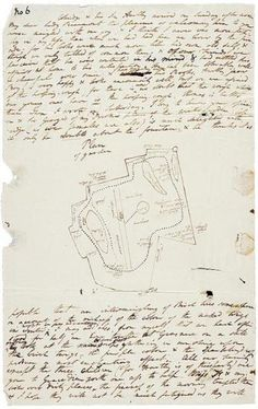 William Wordsworth,    Plan for a winter garden at Coleorton Hall, Leicestershire  seat of Sir George Beaumont, in an autograph letter of Dorothy Wordsworth to Lady Beaumont, 23 December 1806  | The Morgan Library & Museum