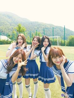 Kim Eunsuh, Natty, Park Jiwon,Lee Dahee and Chu Wonhee (i don't believe Wonhee with that tall? School Uniform Girls, Girls Uniforms, School Uniforms, Berry Good, Blackpink Photos, Foto Pose, Cute Girl Outfits, K Idol, Asia Girl