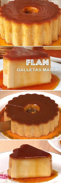 """Flan de galletas María un delicioso y cremoso Postre muy fácil! """" Mi tarta preferida. #flan #galletasmaria #cremoso #facil #receta #recipe #casero #torta #tartas #pastel #nestlecocina #bizcocho #bizcochuelo #tasty #cocina #cheescake #helados #gelatina #gelato #budin #pudin #flanes #pan #masa #panfrances #panes #panettone #pantone #panetone #navidad #chocolate Si te gusta dinos HOLA y dale a Me Gusta MIREN... Jello Recipes, Cake Recipes, Dessert Recipes, Puerto Rico Food, Flan Recipe, Creative Desserts, Sweet Recipes, Cupcake Cakes, Bakery"""