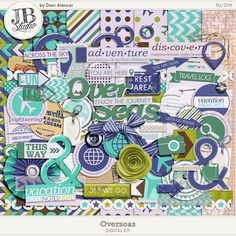 Overseas Digital Kit by JB Studio .The kit includes 8 patterned papers, 5 solids, 77 elements. On sale at 20% off at Go Digital Scrapbooking