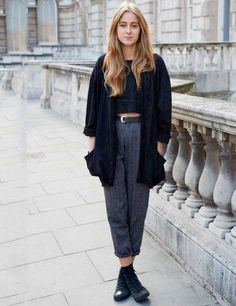 London street style. vintage kimono, cropped top, high waist trousers and converse high tops.