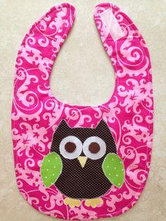 Pink Baby Girl Owl Bib on Etsy, $6.00
