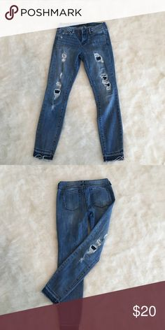 Bullhead (pacsun) ripped jeans Dark wash, ripped, cut-off bottoms PacSun Pants Skinny