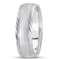 Shop Unique settings Men's Gold Wedding Bands like this Satin Center Band with Diamond Cut Edges at The Ring Austin in Round Rock TX Matching Wedding Bands, White Gold Wedding Bands, Diamond Wedding Bands, Anniversary Bands, Wedding Anniversary, Wedding Men, Diamond Cuts, Rings For Men, Jewelry