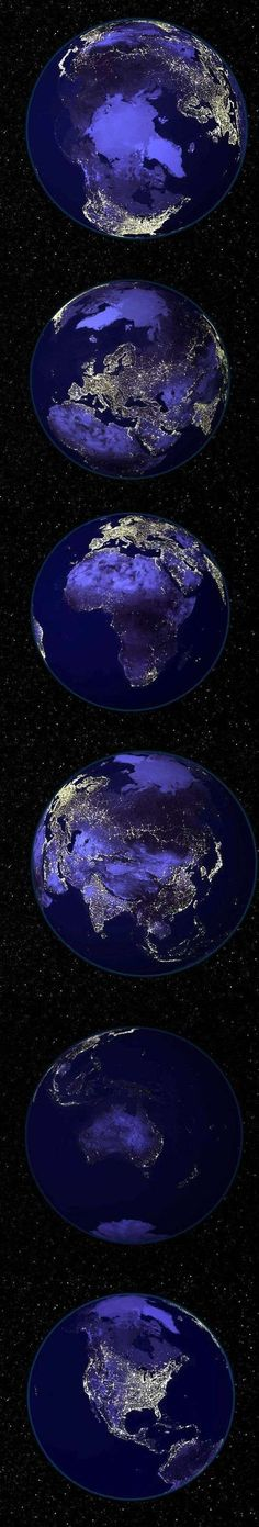 Several views of the whole world, showing city lights and areas of greater population. Astronomers were doing.