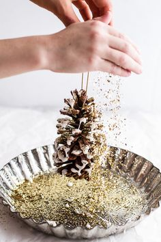 Homemade Holidays: Snowy, Sparkly Pine Cone Ornaments | halfbakedharvest.com @hbharvest