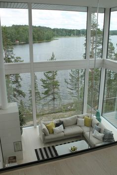 The amazing lake Saimaa-view from the master bedroom. VILLA SAIMAANHELMI. Interior design by Kirsi Valanti. Housing fair/ Asuntomessut Mikkeli 2017